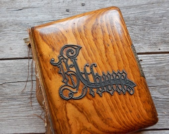 Heavy Antique Victorian Photo Album with Wood Cover