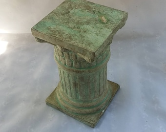 Small Mint Green Decorative Pedestal Plant Stand Photo Prop