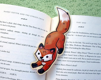 Fox Bookmark - Leaping Red Fox / Book Lover Gift / Cute Shaped Bookmark / Laminated Bookmark / Illustrated Fox / Kids Bookmark