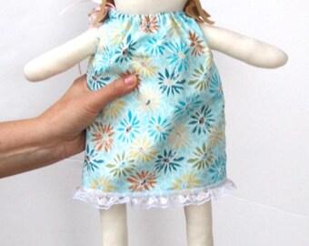 Rag doll, cloth doll for little girls, child friendly softie plushie doll, stuffed doll, fabric doll in blue dress baby shower birthday gift