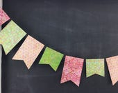 Kaleidoscope Flag-Duo Garland - Reversible: 1st Birthday Girl, Photo Backdrop, Pink Green Birthday Party Decor, Boho Floral Garland