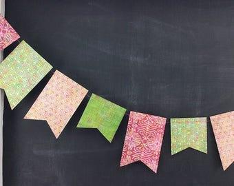 Kaleidoscope Flag-Duo Garland - Reversible: 1st Birthday Girl, Photo Backdrop, Pink Green Birthday Party Decor, Boho Floral Garland