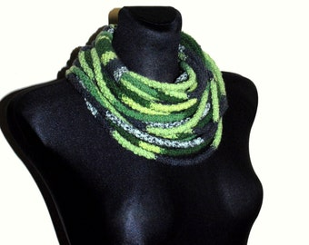 Grey and Green Infinity Scarf, Grey and Green Crochet Scarf, Rope Scarf, Crochet Infinity Scarf, Crochet chunky scarf
