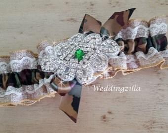Burlap Wedding Garter  / Camo Camouflage Garter / Burlap Garter/ Camo Bridal Garter / Wedding Garter Belt/ Rustic Wedding