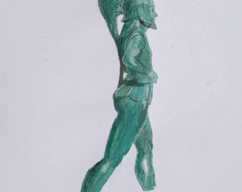 Watercolor painting inspired from a Bronze Figurine of a Warrior