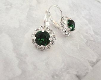 Emerald Crystal earrings - Halo, Swarovski green crystal earrings,Brides earring,Bridesmaids earrings, May birthstone,Irish earrings, SOPHIA
