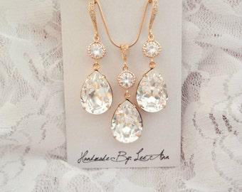 Gold crystal jewelry set, Swarovski crystals, Brides jewelry set, Gold jewelry set, Teardrops, Wedding jewelry set, Bridesmaids set, SOPHIA