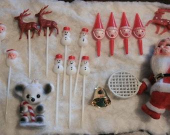 Vintage Christmas Picks- Cupcake, Floral,Craft Supplies, Destash Lot, 18 pcs