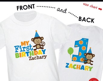 Boy Monkey 1st Birthday Shirt or Bodysuit Front & Back Print- Personalized with child's name and age