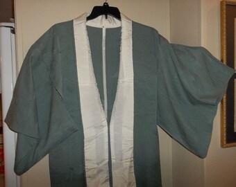 Vintage Japanese Silk Wedding Kimono..Grey/ Green Wavy Tsunami..New Old Stock..1970Era..Perfect Condition