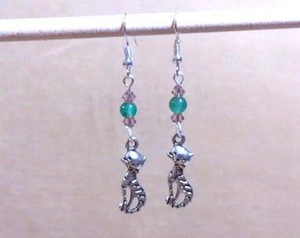 Cat Charm Earrings, Teal Bead & Crystal Silver Kitty Cat Charm Earrings, Glass Bead Earrings, Crystal Earrings, Handmade Beaded Jewelry