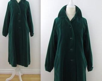 70s Velvet Swing Coat in Emerald Green - Vintage 1970s Lou Ritchie 3/4 A Line Coat in Medium Large