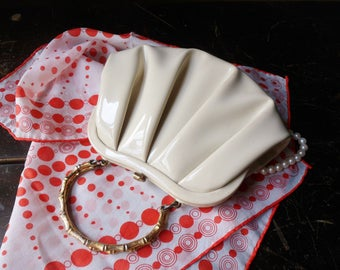 """Small """"After Five"""" Cream Patented Leather Handbag with Faux Bamboo Handles"""