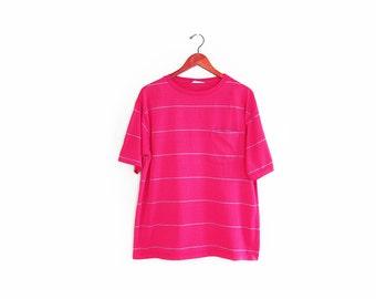 vintage t shirt / striped / pocket t shirt / grunge / 1990s pink and blue striped pocket t shirt Large