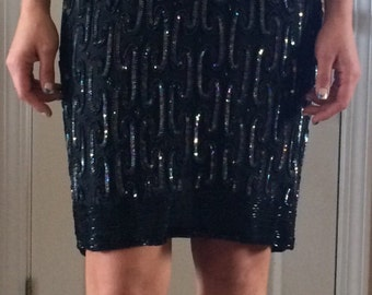 Stunning Sparkling Stenay Vintage Beaded Black Cocktail Dress Size 12-Perfect for holiday parties and New Year's Eve