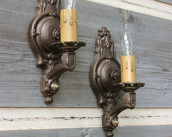 FREE SHIP-Antique Iron Wall Sconces, Pair of 1920's Wall Lights, Antique Lighting, Vintage Lighting, Oil Rubbed Bronze Decorative Sconces