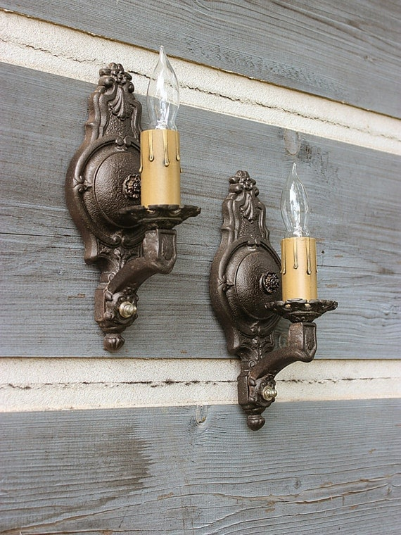 Vintage Iron Wall Sconces : FREE SHIP-Antique Iron Wall Sconces Pair of 1920 s Wall