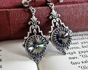 Gray Drop Earrings,Swarovski Black diamond Earrings,Smoky Gray Crystal Earrings,Bridesmaids gift,Gray Earrings,Art Deco,Gothic Earrings