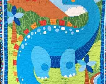 Baby Boy Dinosaur Quilt Blanket, Blue, Green, Red, White Minky, Boy Quilt, Tummy Time, Play Mat, Brontosaurus, Quiltsy Handmade