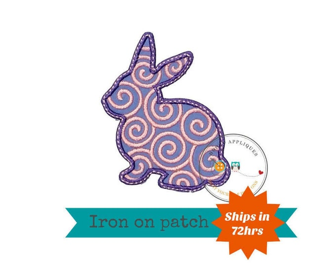 Pink and purple bunny sillouette iron on applique, pink and lavender Easter bunny fabric iron on fish patch, ships in 72hrs, ready to ship