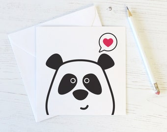 Panda Love Card - panda valentines - panda valentines day - panda anniversary - panda bear - i love you card - bear valentine - cute panda