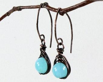 Peruvian Opal Earrings, copper wire herringbone wrap, aqua blue gemstone, modern artisan earrings, hand-forged, holiday gift for her, 3367