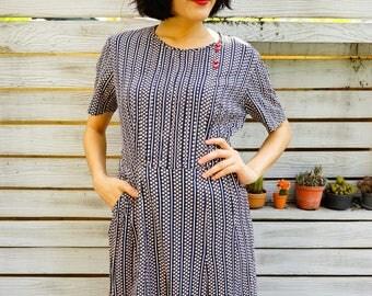 Vintage Dress/ 1980s Dress/ Vintage Japanese Dress/ Vintage Womens Dress/ Summer Dress/ Floral Dress/ 80s Dress/Retro Dress/ Flower Dress
