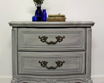 Hand Painted, Vintage French Provincial Nightstand, Shabby Chic Night Stand