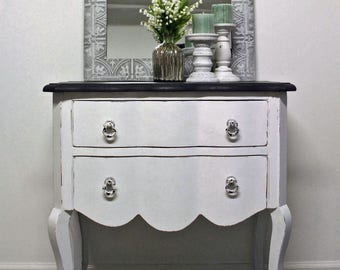 SOLD Hand Painted, Two Drawer Chest, Entry Chest, Country Chic Chest, Shabby Chic Chest