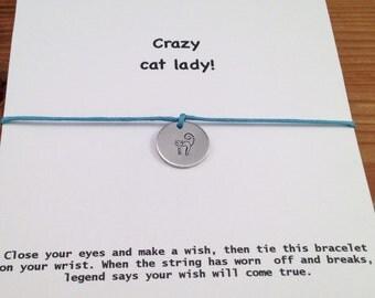 Wish Bracelet,Friendship Bracelet,Crazy Cat Lady,Cat Jewelry,Sieraden,Best Friend Bracelet,Quote cards,Best Friends Gifts,BFF Gifts, For Her