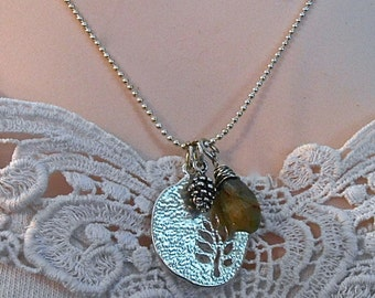 Leaf Cut Silver Charm Necklace Pine Cone Facetted Shaded Chalcedony Pear Rustic Woodland Valentine  Gift trending colors