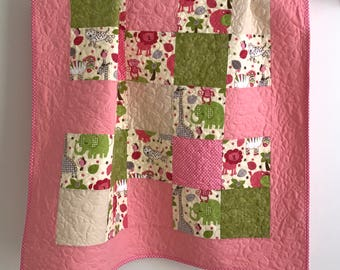 Modern Patchwork Baby Girl Quilt featuring Zoo Animals Pink Green Ivory