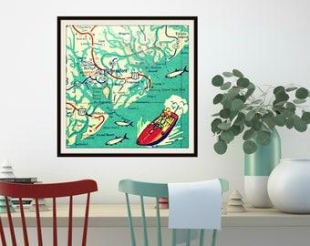 BEAUFORT map art, SC map art print, South Carolina Art, Beaufort SC beach house decor, Kids room, Kids map art, square art, aqua red
