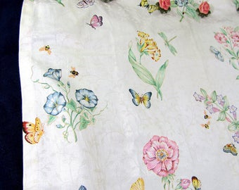 "Vintage Lenox Floral Shower Curtain and Ceramic Rose Curtain Hooks 67""w x 72"" l"