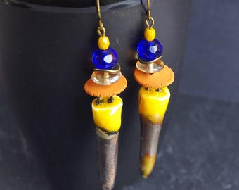 Cobalt Blue,Stick Earrings,Spike Earrings,Dagger Earrings,Tribal Jewelry,Rustic Earrings,Ceramic Pendant,Ethnic Boho Chic,Mothers Day