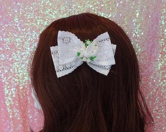 Lolita Larme Kei Kawaii Little Dove White Lace Bow