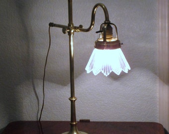 Classic Antique French Brass Table Lamp with Crystal Glass Shade - in Excellent Condition - French Lighting - French Home Decor