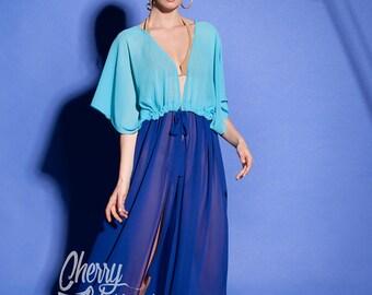 Blue dress, Cover up, Chiffon Dress, Beach dress, Plus size dress, Maxi dress, Beach tunic, Blue maxi dress, Caftan, Cover up dress