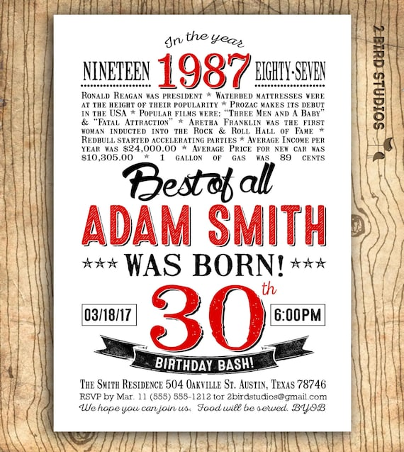 30th birthday invitation Surprise 30th birthday party – Surprise 30th Birthday Invites