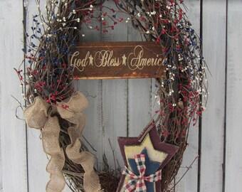 4th of July Wreath  - Memorial Day Wreath  - Patriotic Wreath - Americana - Primitive / Rustic - Summer Wreath - Star Wreath - Berry Wreath