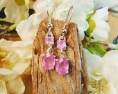 Special Pink Sapphire Earrings, July or September Birthstone, Sterling Silver, 3.80 Ct  8 x 6.2 mm & 4 mm Natural Pink Sapphire, semi-opaque