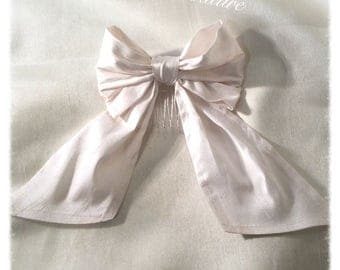 Ivory Silk Hair Bow with Tails on a Comb