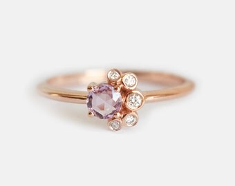 Rose Cut Sapphire Ring, Sapphire Cluster Ring, Sapphire and Diamond Ring, Sapphire Diamond Ring, Pink Sapphire Ring, Tiny Cluster Ring
