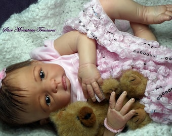Reborn Newborn Baby Girl with German Glass Eyes