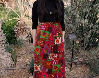 1970's Handmade Vintage Patchwork Pattern Velvet High Waisted Maxi Skirt Boho Hippie Chic