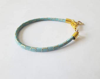 Faux Leather Rope Extra Thin Elegant Bracelet / Available in Three Colors (White, Pink and Blue) / With Gold Metal Ends