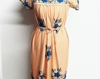 70s embroidered Boho long dress