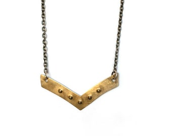 """Brass chevron (""""V"""" shape), hand cut and punched metal pendant necklace"""