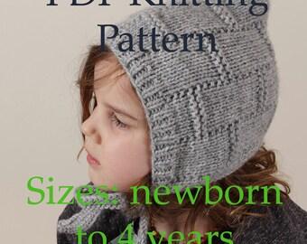 PDF knitting pattern, pixie bonnet pattern, pixie hat pattern, easy knit hat, baby bonnet pattern, beginner friendly knitting pattern, diy
