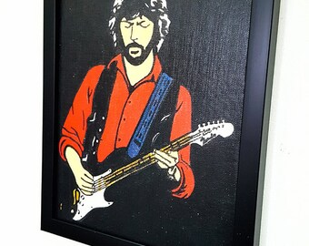 Eric Clapton RETRO - Framed Wall Art Giclee Canvas Paint,Painting, Poster,Print- Great Rock'n'Roll Home Decor